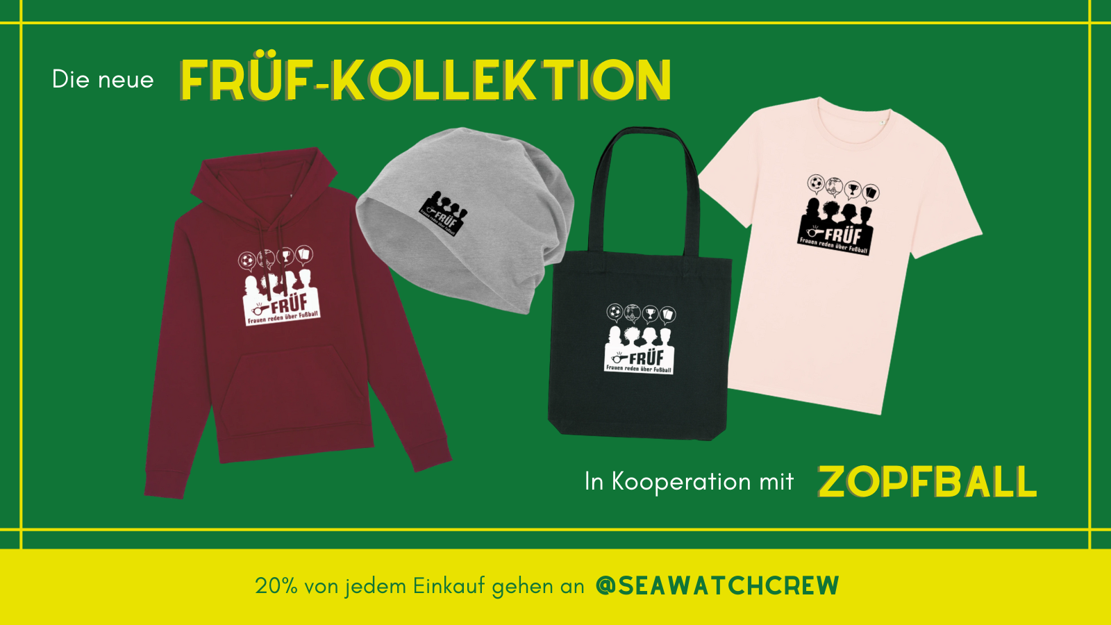 Auf dem Bild sieht man Teile der FRÜF-Kollektion auf einem grünen Hintergrund angeordnet: einen roten Hoodie, ein rosa T-Shirt, eine graue Mütze und einen schwarzen Beutel.